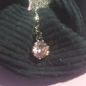 Pink Round Stone Expandable Necklace